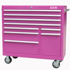 6 Drawer Steel Rolling Cabinet, Pink- The Original Pink Box-Tools-Tool Storage-Bottom Rollaway Chests