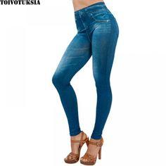 018e95bdeee TOIVOTUKSIA Plue Size Women Fleece Lined Winter Jegging Jean Hot Sale Genie  Slim Fashion Jeggings Leggings