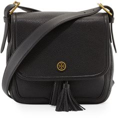 Tory Burch Frances Pebbled Leather Saddle Bag ($475) ❤ liked on Polyvore featuring bags, handbags, shoulder bags, black, drawstring shoulder bag, black shoulder bag, drawstring handbags, black handbags and flap handbags