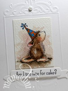 Handmade Card House Mouse birthday too late for by mamadini, $5.00