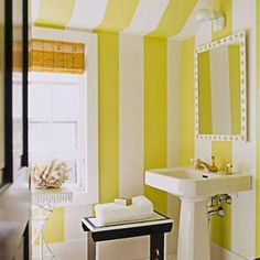 33 Bright & Colorful Bathroom Design:  Bathroom Covered With Yellow Stripes