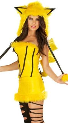 pink queen cute stylish yellow velvet hooded pikachu costume for halloween party - Pikachu Halloween Costume Women