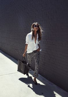 Downtown Darling. White button down+leipard print cropped jeans+grey and black sling back pumps+black tote bag+necklace+sunglasses. Summer Casual Workwear / Business Casual Outfit 2017