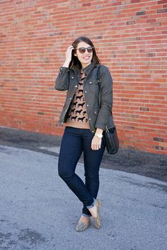 dog patterned graphic sweater, tribal print loafers, @Loft jeans, J.Crew field jacket | Style On Target