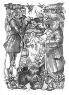 Гоголь в иллюстрациях Сергея Георгиевича Якутовича. Не путать с папой, которого я выкладывал чуть раньше . Напечатано серебром. Очень непривычно. На мониторе не…