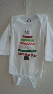 Make girls this shirt. Cut ribbon 4 1/2, 4, 3 1/2, 3, 2 1/2, 2... put sparkle button on top (like a star) & brown ribbon for trunk.  Make sure to burn ribbon edges so won't fray. #christmas #craft #kids #diy #clothes