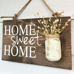 Home sweet home rustic front door sign decor, Mothers Day gift, Outdoor signs for house & home, front porch wood sign decoration, house sign Home Decor Signs, Cheap Home Decor, Diy Home Decor, Mason Jar Vases, Painted Mason Jars, Handmade Home Decor, Vintage Home Decor, Handmade Signs, Diy Ikea Hacks