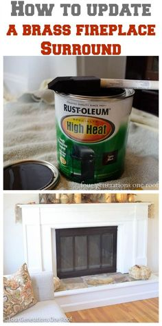 "Just in case. ""How to update a fireplace surround {brass} - Four Generations One Roof. This I can do - so much easier than spray painting it! Fireplace Doors, Fireplace Update, Fireplace Remodel, Fireplace Inserts, Fireplace Surrounds, Fireplace Makeovers, Fireplace Ideas, Painting Fireplace, Fireplace Furniture"