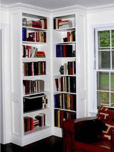 Custom Made Built-In Corner Bookcases