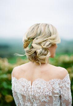 Romantic up do, loose braids, small piece of yellow amaranth // Elisa Bricker