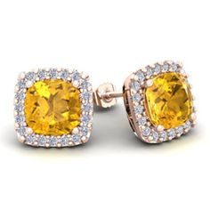 4 3/4 Carat Cushion Cut Citrine and Halo Diamond Stud Earrings In 14 Karat Rose Gold #cushioncutdiamonds