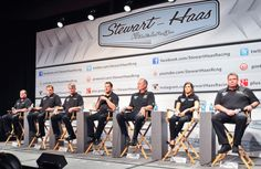Patrick joins her new team at Stewart-Haas Racing during the preseason Charlotte Media Tour. From left are: Competition Director Greg Zippadeli, driver Ryan Newman, crew chief Matt Borland, driver Tony Stewart, crew chief Steve Addington and her crew chief Tony Gibson. Patrick drives the No. 10 Go Daddy car for Stewart-Haas. (Jamey Price/Nascar Media)