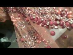 Tissu Haute Couture En Perles Et Strass Cousu Sur Tulle Saumon Pour Caftan Et Robe Du Soir - YouTube