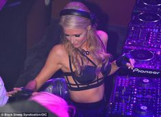 paris hilton in finger less gloves | Paris Hilton whips the crowd into a frenzy as she DJs at her night in ...