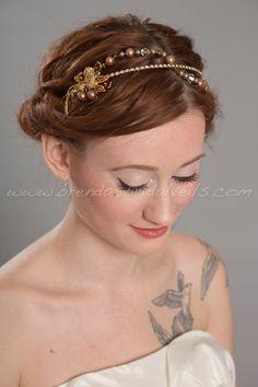 Gold Rhinestone Headband, Wedding Pearl Headpiece, Bridal Headband - Meadow