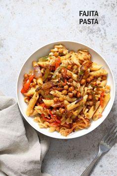 Vegan Fajita Pasta with Chickpeas & Peppers. Easy Weeknight pasta with Taco seasoned veggies & beans w/ creamy pasta. Vegan Soyfree Recipe.Can be glutenfree.