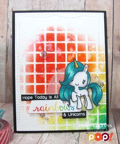Hi everyone it's Holly here and today I have a card full of Rainbows and Happiness! I'm showing my age a bit… but how many of you remember the original My Little Pony circa 1980 something? The new set from The Greeting Farm called Magical Friends is My Little Pony perfection! How cute is that …