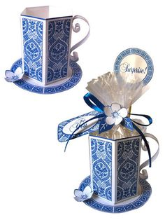 Blue Tea Cup Set (digital kit to create paper teacup gift holder) / Ten Two Studios