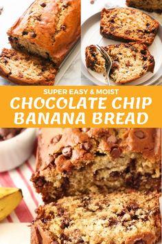 Chocolate Chip Cake, Chocolate Banana Bread, Recipes With Chocolate Chips, Recipes With Bananas, Banana Bread With Applesauce, Banana Bread Brownies, Easy Banana Bread, Yogurt Banana Bread, Super Moist Banana Bread