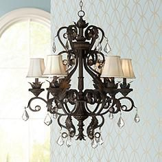Bronze chandelier with ivory lamp shades