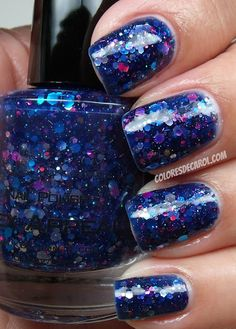Hex Appeal  A navy jelly base with magenta, silver and blue hex glitters and tiny micro bar glitters. From KB Shimmer