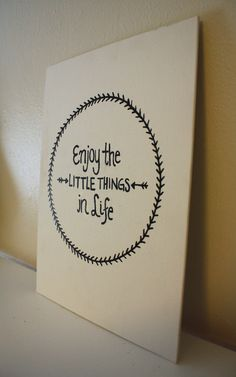 Canvas Quote Enjoy the Little Things in Life by AbiMariah on Etsy