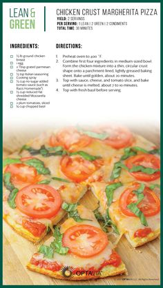 Lean and green meals - Chicken Crust Margherita Pizza Medifast Recipes, Diet Recipes, Cooking Recipes, Healthy Recipes, Healthy Pizza, Skinny Recipes, Healthy Cooking, Lean Protein Meals, Lean Meals