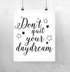 Printable Wall Art Digital Poster Dream Quote Art – a unique product by paperblooming via en.DaWanda.com