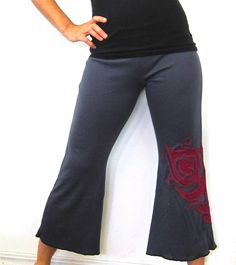 Peacock Yoga Capris with OOAK applique by HipstarrDesigns on Etsy, $77.00