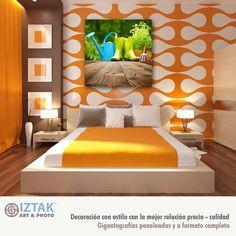 Hasta los espacios modernos, con estilos vibrantes y colores llamativos, pueden complementarse con una buena foto o un arte de temática jardines. Estilo Retro, Bed, Furniture, Home Decor, Good Photos, Spaces, Yurts, Gardens, Trendy Tree