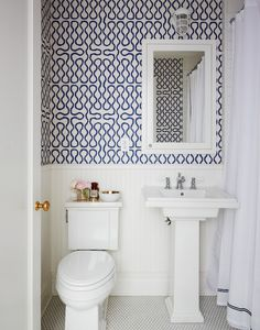 navy blue & white wallpaper, powder room