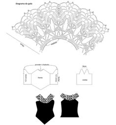 crochet collar to add to tank top Crochet Collar Pattern, Snood Pattern, Crochet Snood, Crochet Lace Collar, Crochet Belt, Crochet Yoke, Crochet Lace Edging, Crochet Skirts, Crochet Diagram