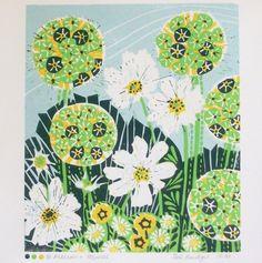 Alliums and Cosmos linocut print - Zoe Badger 4 colour print