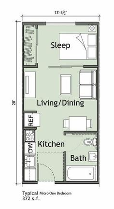 tiny Small 1 bedroom apartment WANTED: Green Thumbs. Small Apartment Plans, Small Apartment Layout, Studio Apartment Floor Plans, Studio Apartment Layout, Bedroom Floor Plans, Apartment Design, Small Apartments, Studio Layout, Garage Apartments