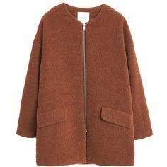Mango Jacquard Coat, Medium Brown (€29) ❤ liked on Polyvore featuring outerwear, coats, jackets, coats & jackets, long sleeve coat, zip coat, jacquard coat, brown coat and short coat