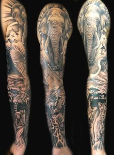Tattoo, sleeve, africa, african animals, wildlife tattoo old school tattoo arm tattoo tattoo tattoos tattoo antebrazo arm sleeve tattoo African Sleeve Tattoo, Animal Sleeve Tattoo, Leg Sleeve Tattoo, Leg Tattoo Men, Animal Tattoos, Tattoo Shoulder, Arm Tattoo, Full Sleeve Tattoo Design, Half Sleeve Tattoos Designs
