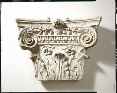 """""""Marble pilaster capital"""" (ca. 1st half of 1st century CE). Roman, early Imperial/Julio-Claudian period. Posted on metmusem.org."""