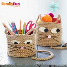 Currrrrl up with a fabulous craft! Our kitty cat basket will make your kids meow!  1. For the smaller basket, start with a 25-foot piece of 1/4-inch jute rope. For the larger one, use a 30-foot piece. To make the base, have your child coil the rope, using tacky glue to hold it together as she goes, into a 4 1/2-inch circle (make it 6 inches for the larger one). 2. Begin gluing the rope on top of the outer ring. Continue building the sides by adding glue every 1 to 2 inches, until the basket…