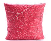 """Coral Pink Decorative Throw Pillow Cover 19.6x19.6"""" - 50x50cm. Nature inspired Decorative Design. Removable Cotton print. 19.6x19.6 inch"""