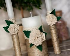 Lace Rustic Chic Wedding Unity candles with by RusticBeachChic, $41.00