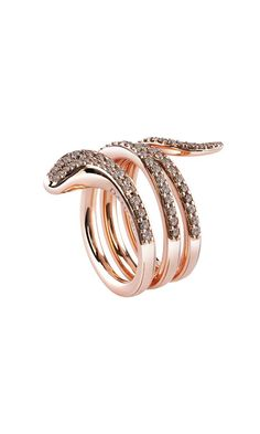 Eden pink gold ring with brown diamonds