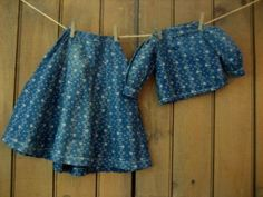 Antique Vintage Prim Blue Calico Doll Skirt Blouse Fits A Large Doll Authentic | eBay