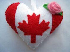 Felt CANADA Flag Love Heart Valentine Wedding Olympics hanging ornament decoration Canadian National Flag