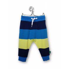 Pantaloni baggy a righe, pantalone in cotone biologico per bambino, capo firmato e certificato GOTS, abbigliamento bimbo economico.