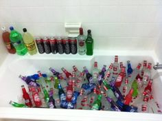 bathtub ice bucket... never thought about this.. i guess my only concern would be crazy drunks peeing in the tub lol