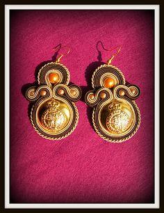 gold brown orange soutache earrings