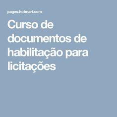 Curso de documentos de habilitação para licitações