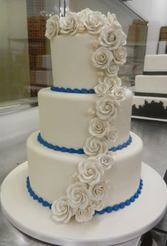 All white with blue piped borders