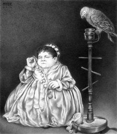 Vintage Art: People and Parrots