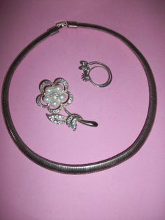 25 off at checkout Costume Silver Tone Choker Flower by MICSJWL, $7.00